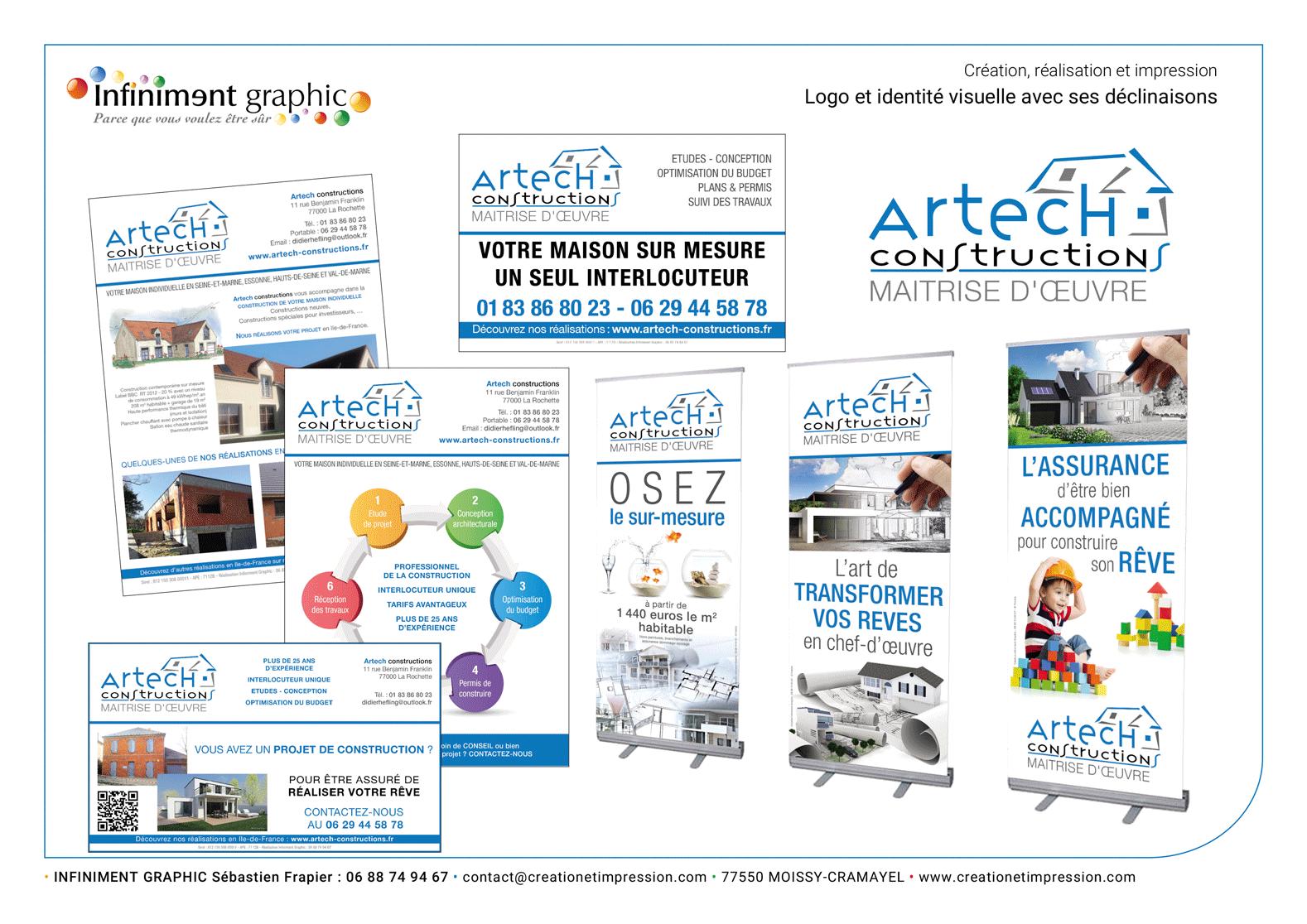 Artech Constructions Logo Flyers Panneaux Roll'up Publicités