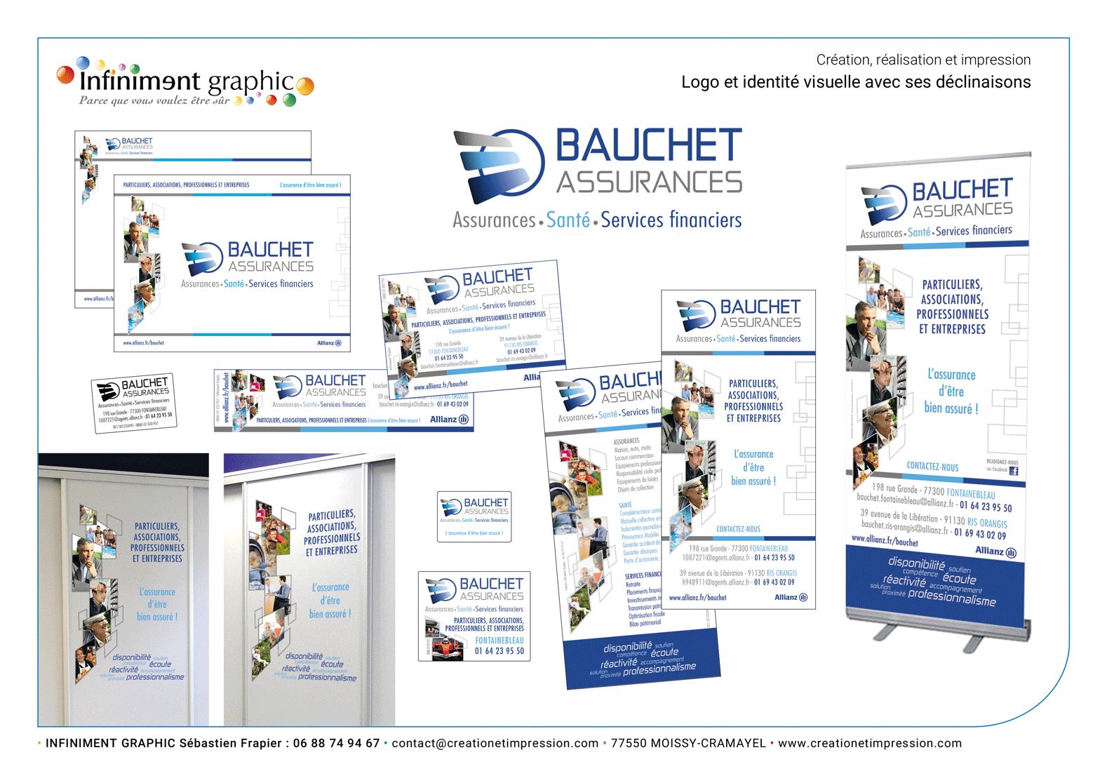 Bauchet Assurances Logo Flyers Présentation PP Publicités Roll'up