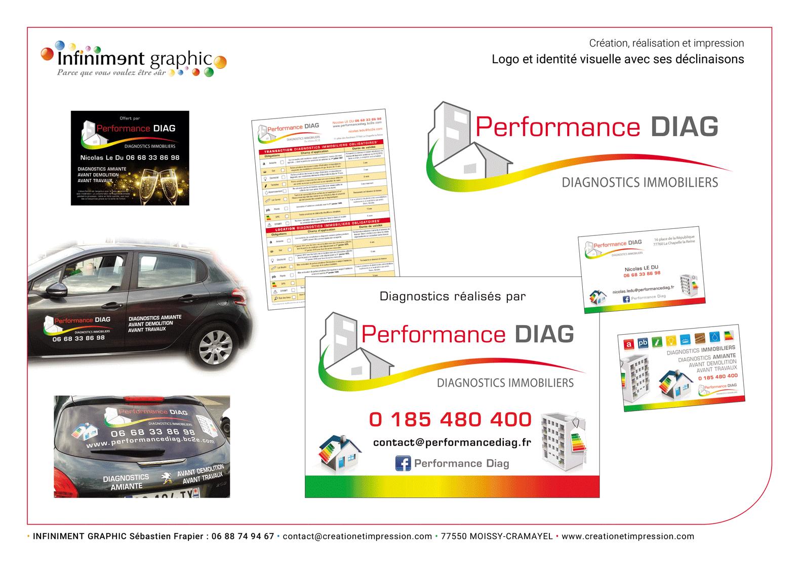 Performance Diag Logo Carte de visite Panneaux Bloc notes Véhicules