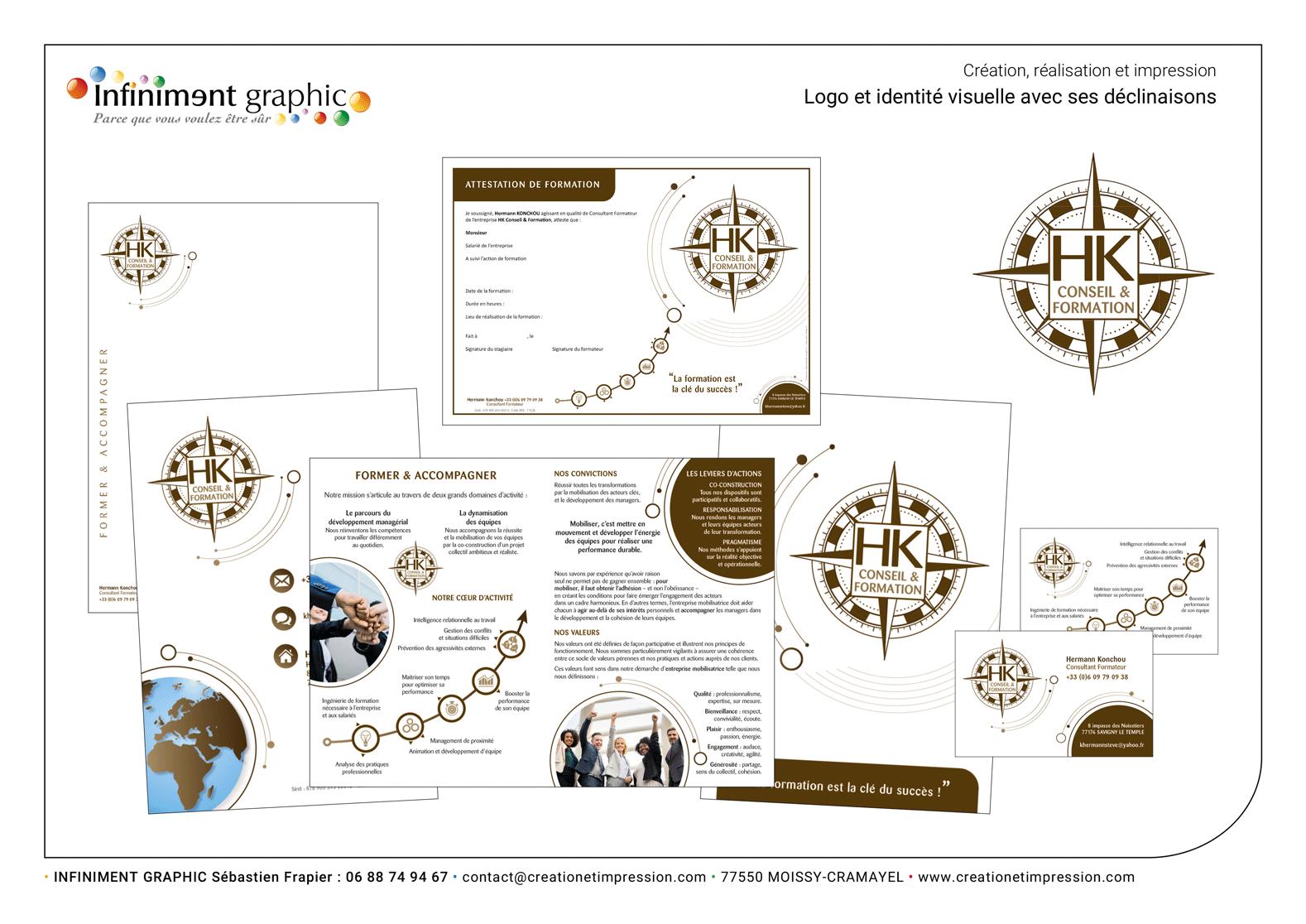 HK Conseils Logo Plaquette carte de visite Diplôme